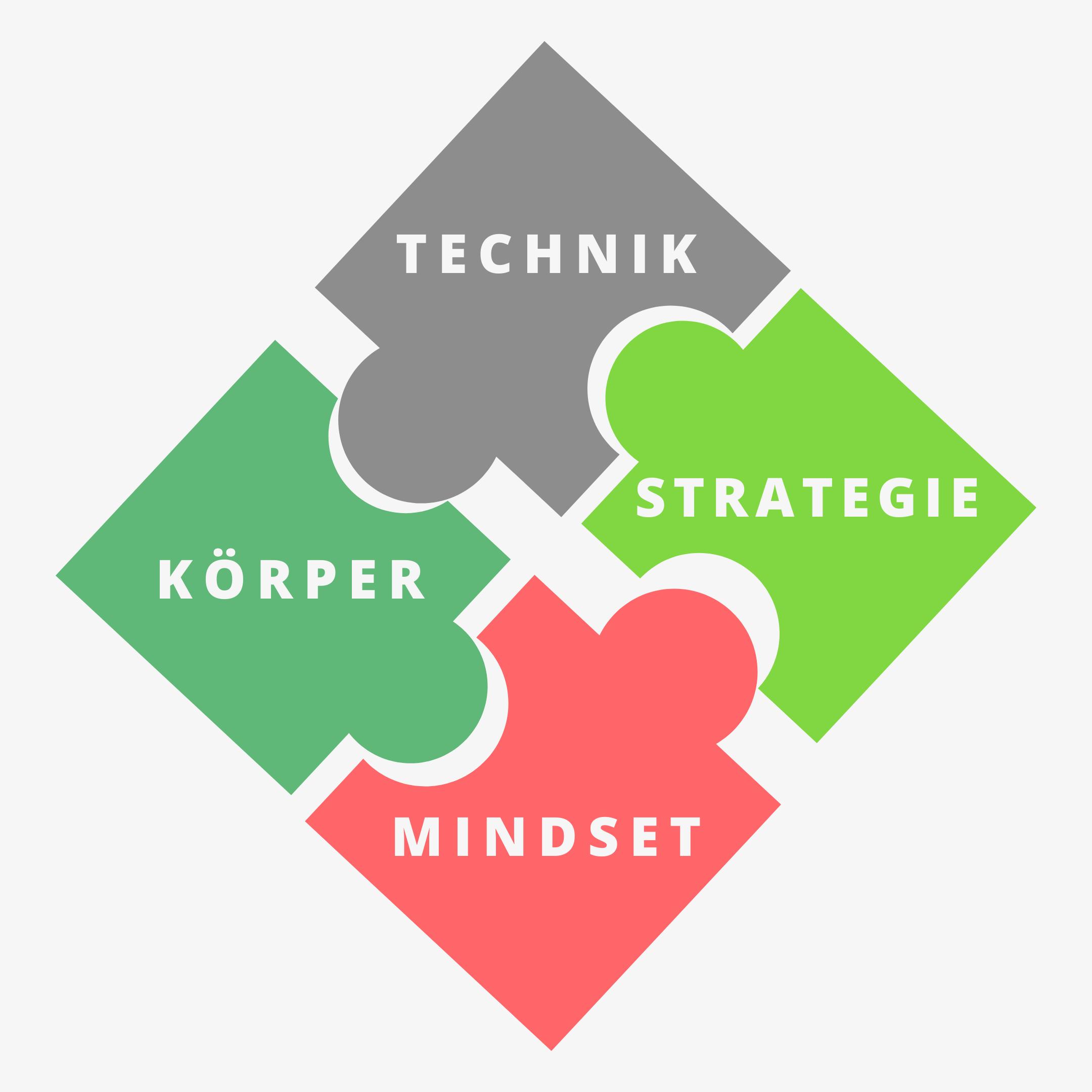 4 Puzzelteile Technik Körper Strategie Mindset