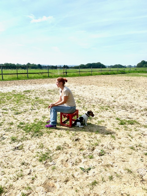 Frau mit Hund sitzt auf Reitplatz und beobachtet